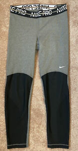 Womens Nike Pro Grey & Black Mesh Legging 7/8 Length Size S