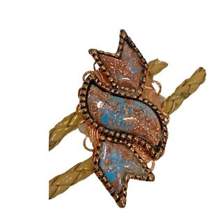 Vintage Wrapped FOX Turquoise Copper Leather Bolo Tie Native Antique with Tips