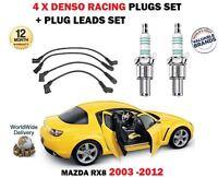 FOR MAZDA RX8 1.3 2003-2012 DENSO IRIDIUM 4 SPARK PLUGS + IGNITION LEADS SET