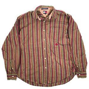 VTG TOMMY HILFIGER embroidered vertical stripe button up MENS L Cotton