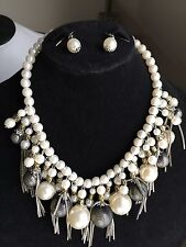 Gorgeous Wedding Bridal Pearl Necklace Earrings Jewelry Set