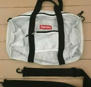 FW16 Supreme white mesh duffle bag box logo