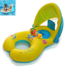 YONG-SHENG-MIN Mother & Baby Swimming Float with Inflatable Sunshade Canopy, Aid