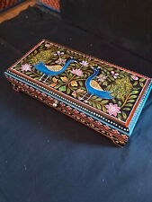 HAND PAINTED MANGO WOOD BOX IN A PEACOCK/ FLORAL DESIGN FROM INDIA