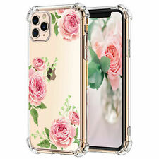 For Apple iPhone 11 Pro Max Phone Case Pink Flowers Clear Shockproof Tpu Cover