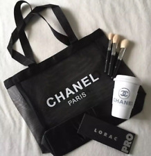 Chanel Paris Classic Logo Mesh Black Shopping Tote Large VIP Beach Bag Light NEW