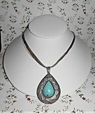 Navajo Indian Sterling Silver Liquid Beads Turquoise Pendant Necklace Marc Begay