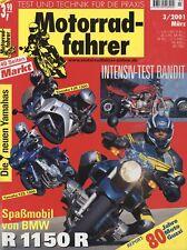 Motorradfahrer 3/01 2001 Aprilia RST Mille Futura BMW R1150R Ducati MH 900e FJR