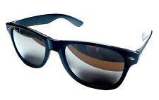 Wayfarer 80s Geek Designer Black Frame Skiing Sunglasses Glasses Silver Mirrored