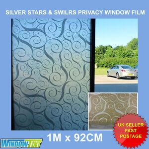 SILVER STARS & SWIRLS DECORATIVE PRIVACY WINDOW FILM - 92cm x 1m Roll (2) S029