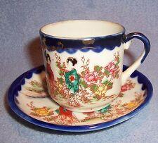 Vintage Japan Imari Geisha Girl DEMITASSE CUP SAUCER Japanese hand painted