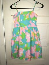 Lilly Pulitzer Turquoise Pink Floral Print Lined Spaghetti Strap Dress 14 Girls