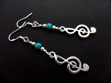 A PAIR OF TIBETAN SILVER MUSICAL NOTE EARRINGS WITH 925 SOLID SILVER HOOKS. NEW