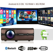 4K Wireless WIFI Android 6.0 LCD Projector 3000LM 1080P HDMI USB Bluetooth 8GB