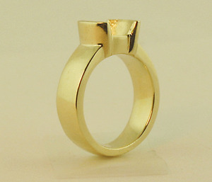 2CT SOLITAIRE RING SETTINGS 14K YELLOW SOLID GOLD 1/2 BEZEL MOUNTING