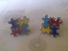 CL998 Autism Awareness Fun Color Puzzle Cuff Links Cufflinks Christmas Wedding