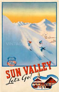 Ski Sun Valley Vintage Travel Giclee Canvas Print 20x31