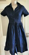 SIZE 16 NAVY BLUE BRODERIE ANGLAIS COTTON MIDI SUMMER SHIRT DRESS US 12 EU 44