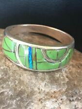 Native American Green Gaspeite Opal Inlay Ring Sterling Silver Sz 12.5 Mens