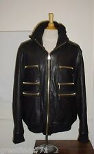 Men's 4XL K & C K&C Black Leather Aviator Flight Bomber Jacket Coat Limited Ed