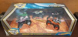 Mattel Hot Wheels 1:64 Scale Monster Jam • Smash Up Stadium 5-Pack