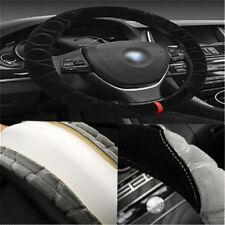 """Car Steering Wheel Cover Comfortable Soft Black Warm Plush Cover For 15""""/37-38CM"""