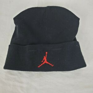 Air Jordan Baby Newborn Black 100% Cotton Beanie 0-6 Months Red Logo EUC