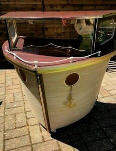 VINTAGE 1960s RETRO BOAT SHIP COCKTAIL BAR IDEAL MAN CAVE TALKING POINT PIECE!