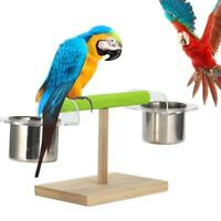 Parrot Bird Stand Perch Toys Play with Two Water Food Bowl Paw Grinding Toy