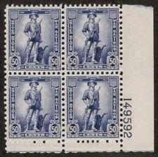 US USA Sc# WS9 MNH FVF PLATE# Block War Savings Stamp Minute Man 50 cent