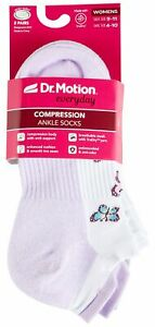 Dr. Motion Womens Butterfly Compression Ankle Socks 1 White/purple