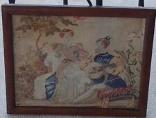 Wonderful Antique Hand Stitched Wool Courtship Scene - Framed - VERY OLD - 1880s