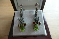 PEAR GREEN PERIDOT RHODOLITE GARNET 925 SILVER RHODIUM GOLD DROP DANGLE EARRINGS