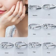 12 Constellations Zodiac Cubic Zircon Rings Women Adjustable Rings Jewelry Gifts