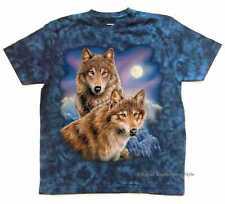 T Shirt Batik blau Natur & Wildnismotiv Modell Two Wolf Moon M -XXXXXL