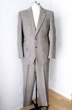 Vtg 70s Superfly Gray Red Plaid Wool 2-Pc Disco Pimp Suit Wide Leg Pants Slim 42