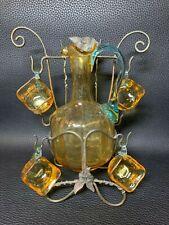 Art Nouveau French Liqueur Decanter and 4 Cordial Cups/Mugs c1910