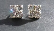 Sparkly Silver Square Diamante Crystal Diamond  Rhinestone Men's Earrings