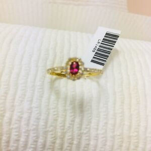 22k solid gold ring  Beautiful Ladies Ring   With Red Lab Created Ruby And Cz