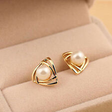 Earrings Yellow Gold Plated Jewelry Elegant Women's Triangular Ear Studs Pearl