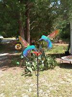 NEW METAL YARD ART KINETIC GARDEN SCULPTURE  2 PAINTED  HUMMINGBIRDS MADE IN USA