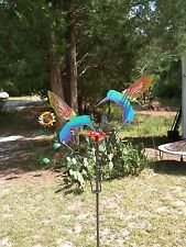 NEW METAL YARD ART KINETIC GARDEN SCULPTURE  2 PAINTED  HUMMINGBIRDS MADE IN USA