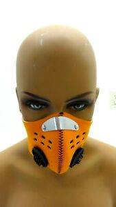 NWT XINTOWN ORANGE NEOPRENE SPORTS MASK WITH FILTER AND VALVES ONE SIZE