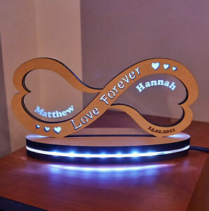 Personalised Wooden Infinity Led night light for Valentine's day, Wedding day