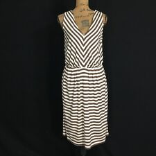 Talbots Dress Sm M Beige Brown Chevron Stripe Pleat V Neck Pocket Midi Stretch