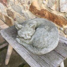 Katze traumhaft lebendig wirkende Steinfigur Garten Deko Haustür Tierfiguren
