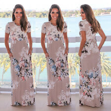 Plus Size Womens Long Maxi Dress Short Sleeve Cocktail Floral Dress Sundress