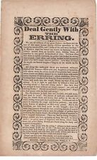 """1840s American Song Sheet """" Deal Gently with the Erring """" New York"""