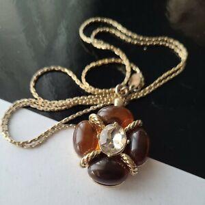 """Vintage Les Bernard INC Gold Tone Faux Amber Cabs Pendant Chain Necklace 30""""L"""