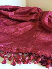 CHARISMA RICH Cranberry RED Crinkled EMPIRE VALANCE BEADED with TASSELS NEW